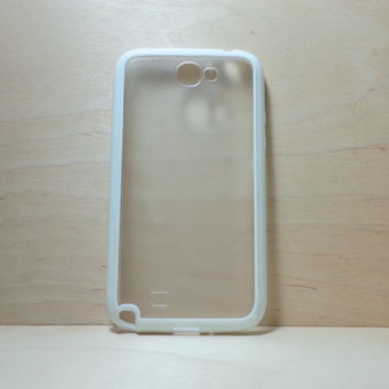 Samsung Galaxy Note 2 Case Silicone Bumper and Translucent Frosted Hard Plastic Back - White