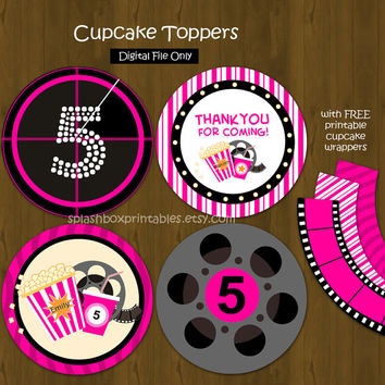 Hot Pink Movie Night Cupcake toppers with Free Cupcake Wrapper - Cinema Popcorn Movies Cupcake Toppers for Girls Birthday or Baby Shower