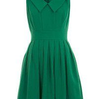 Green Collar Skater Dress