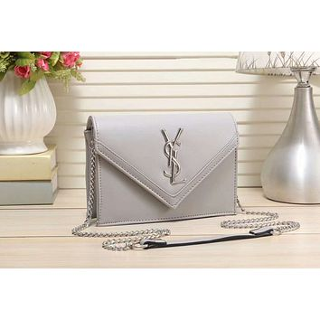 YSL Yves Saint Laurent Stylish Women Shopping Leather Metal Chain Crossbody Satchel Shoulder Bag(7-Color) Grey I-LLBPFSH