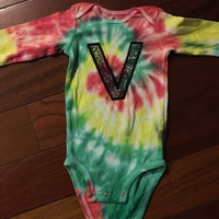 Custom Baby Bodysuit with Your Baby's Initial, Custom Baby Shirt, Custom Tie dye for Baby, Monogram Tshirt, Personalized Baby TieDye Romper