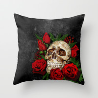 Sugar Skull with red rose Decorative Throw Pillow Cushion case by Three Second