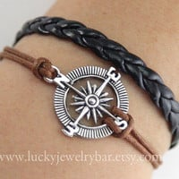 compass bracelet, antique silver compass bracelet, braid leather bracelet,  SALE