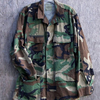 Military Army Camo Jacket VintageIssued Slouchy Grunge Button Down All Sizes