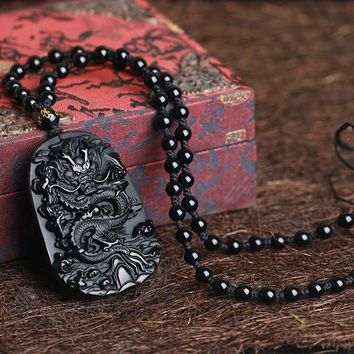 Octbyna Natural Black Obsidian Dragon Drop Pendant Necklace Amulet Lucky Pendant Maitreya Auspicious Necklace Jewelry