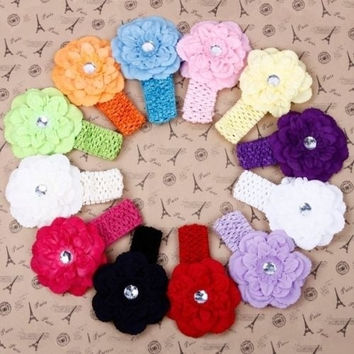 12pcs Kid Baby Girl Peony Elastic Headband Hairband Hairbow Hair Clip Headwear (Color: Multicolor) = 1652935748