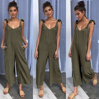 Tide brand new women's four-color tied bandwidth loose jumpsuit