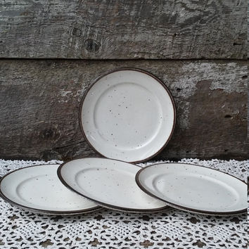 "IRONESTONE SIDE PLATES, Set of 4, Johnson Brothers, ""Speckled Brown and Cream"" Plate, England, Rustic Decor, Farmhouse Decor, 6 3/8"""