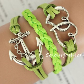 Graduation Gift, Fashion Charm Bracelet, Silver ''LOVE'' Anchor Charm, Green Cords, Braid Leather, Silver Jewelry, Personalized