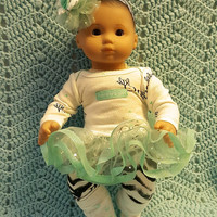 "15 inch baby doll outfit  ""Mommy's Zebra Girl"" will fit Bitty Baby dress, leggings, socks, and headband/ hair clip R6"
