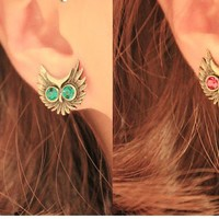 Stylish and Cool Rhinestone Embellished Owl Earrings