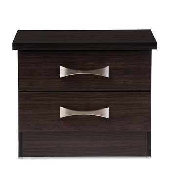 Baxton Studio Colburn Modern and Contemporary 2-Drawer Dark Brown Finish Wood Storage Nightstand Bedside Table Set of 1