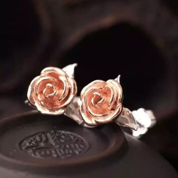 Beauty and the Beast Inspired Rose Earrings