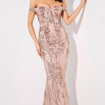 Worth Remembering Rose Gold Sequin Floral Pattern Short Sleeve Off The Shoulder V Neck Mermaid Maxi Dress