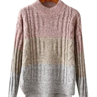 Color Block Cable Ribbed Knit Sweater With Side Slits