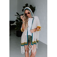 Arely Hooded Poncho Cardigan - Natural