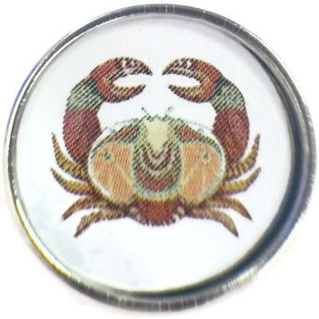 Cancer Art Deco Crab Zodiac Sign Horoscope Symbol 18MM - 20MM Charm for Snap Jewelry New Item