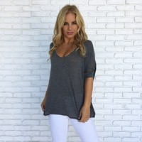Freedom Jersey Blouse In Charcoal Grey