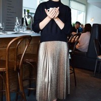 Deets In the Pleats Silver Maxi Skirt - FINAL SALE
