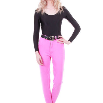 80s Pink High Waist Stretchy Bodycon Jeans Cigarette Pants with Stirrup Skinny Fit 90s Vintage Womens Size XS Small