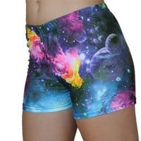 Multi-Colored Galaxy Spandex Shorts in 3 Lengths