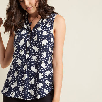 Cafe au Soleil Sleeveless Top in Boo