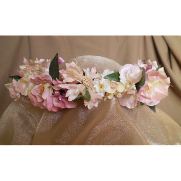 Floral head wreath faerie costume accessory fairy head piece wedding flowers women's accessory