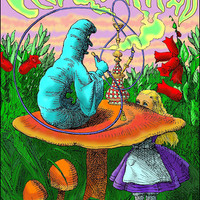 Alice In Wonderland Caterpillar Hookah Black Light Poster
