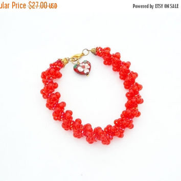 SALE Red bracelet Beaded bracelet Bead bracelet seed beads orange bracelet handmade bracelet for women gift for her bib bracelet
