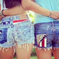 American flag clothing,high waisted denim shorts,studded shorts by Jeansonly
