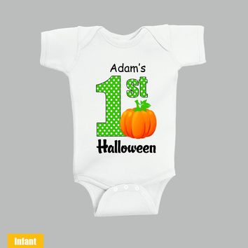 Custom made with Baby Name - 1st halloween - Infant Lap Shoulder Bodysuit