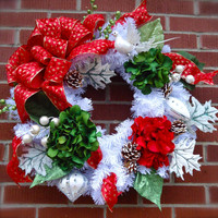 "Christmas Wreath ""Merry Christmas"" Wreath, Home Decor, Christmas Floral, Wreath Decor, Christmas Floral, Winter"