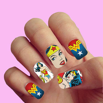 Wonderwoman Superhero  Pop Art Vintage Comics - Nail Art - Nail Decals