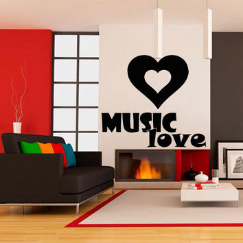 Wall decal decor decals sticker art vnyl design love inscription heart sound music plug club bedroom play lounge room (m1220)