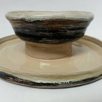 Ceramic Chip and Dip Plate, Earth Tone Glazes by Michele Patton