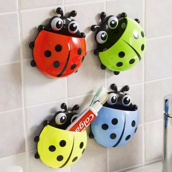 Creative Ladybug Toothbrush Holder Bathroom Toothpaste Suction Cup Hanging Organizer Wall Mounted Toothbrush Holder Hook Cups