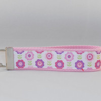 Pink Keychain Wristlet Made With Pink Flower Ribbon