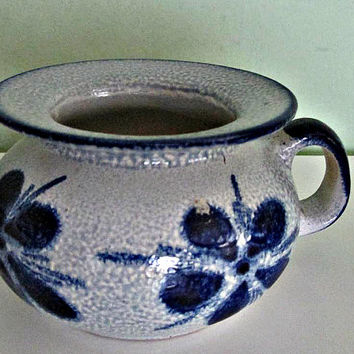 Vintage Decorative Germany Vase, Salt Glaze, Cobalt Blue and Grey, Traditional German Pottery, Ceramic, Floral Patern