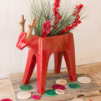 Ceramic Deer Planter - Red