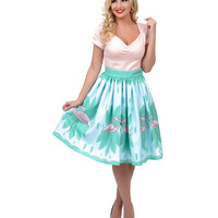1950s Style Blue & Pink High Waist Flamingo Swing Skirt