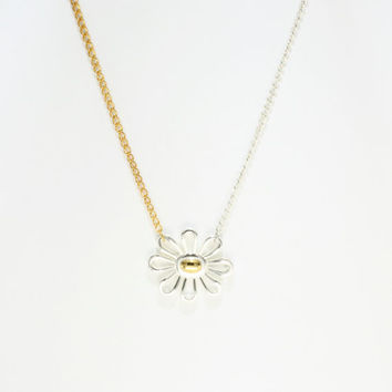 Two tone, silver and gold, Daisy Necklace