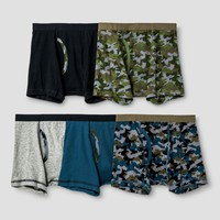 Boys' 5pk Camo Boxer Briefs - Cat & Jack™ Green/Blue/Gray