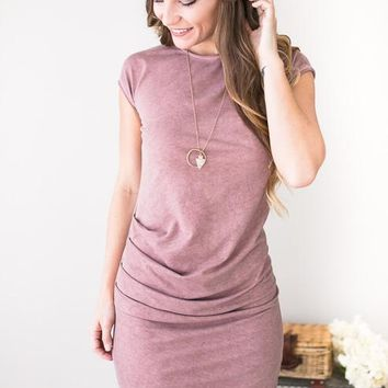Mauve Waves Garment Dyed Ruched Dress