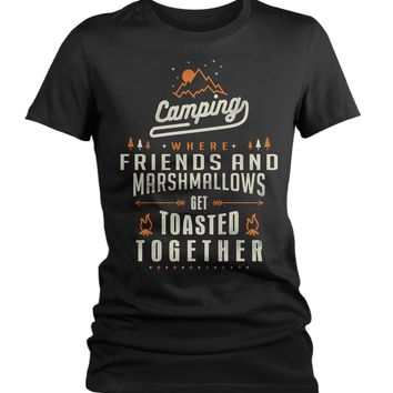 Women's Funny Camping T-Shirt Friends Marshmallows Toasted Together Shirt Camper Tshirt Fun Camp Shirts