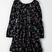 AEO Split-Sleeve Open-Back Dress, True Black