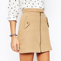 New Look Zip Front Military Skirt