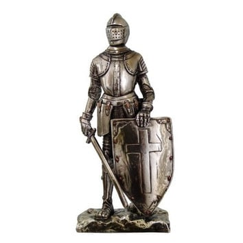 Crusader Knight Statue Silver Finishing Cold Cast Resin Statue 7 (8718)