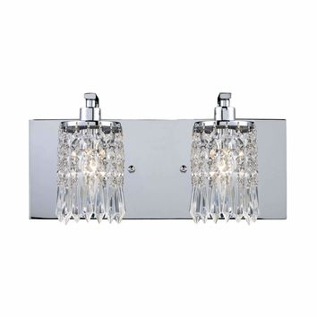 Optix 2 Light Vanity In Polished Chrome And Leaded Crystal Glass