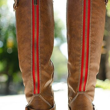 Breckelles Saddle Up Tall Red Zipper Riding Boots - Tan