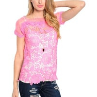 Cap Sleeve Crochet Lace Dressy Top